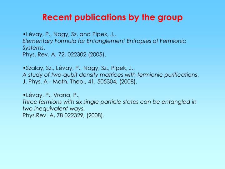 Recent publications by the group