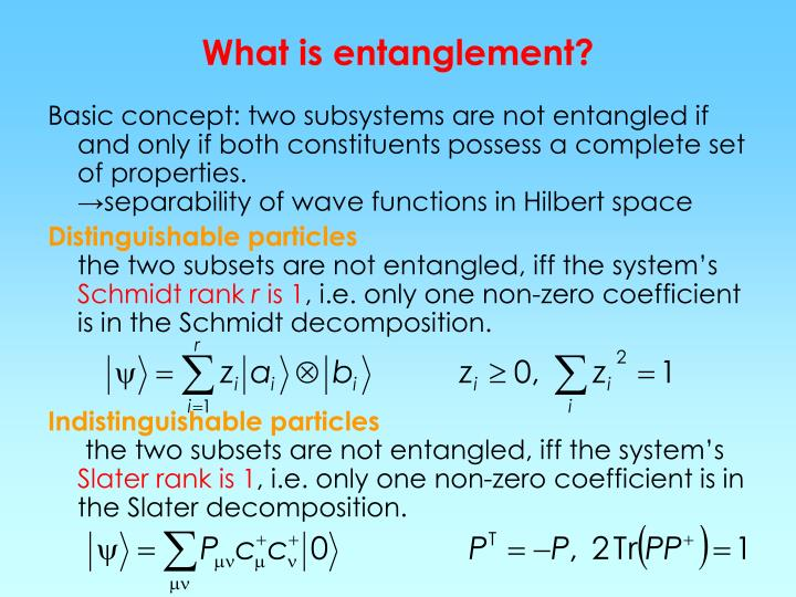 What is entanglement?
