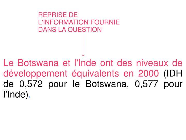Le Botswana et l'Inde ont des niveaux de développement équivalents en 2000