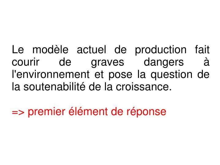 Le modèle actuel de production fait courir de graves dangers à l'environnement et pose la question de la soutenabilité de la croissance.