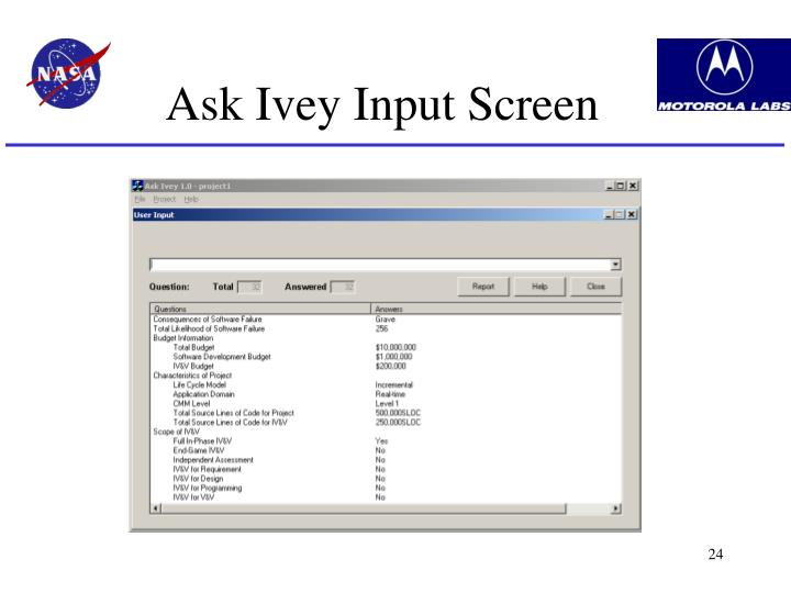 Ask Ivey Input Screen