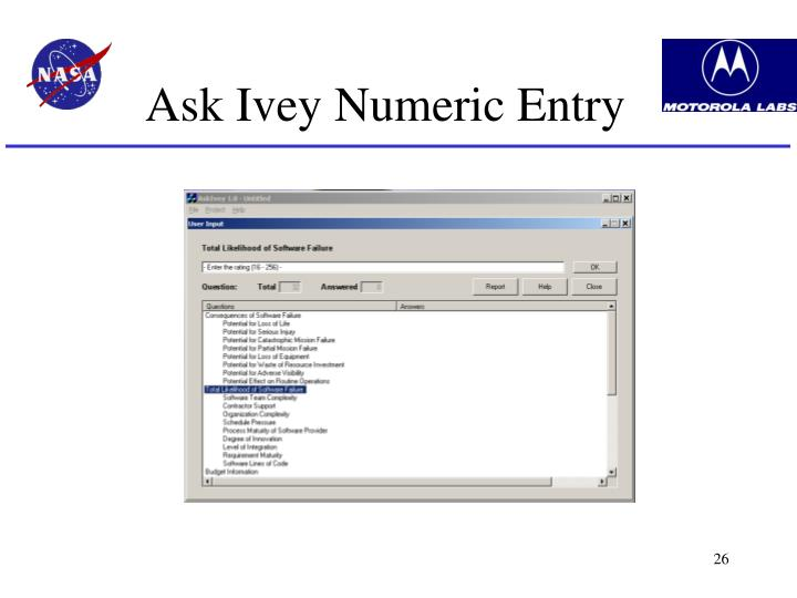 Ask Ivey Numeric Entry