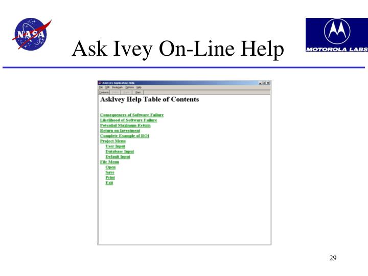 Ask Ivey On-Line Help
