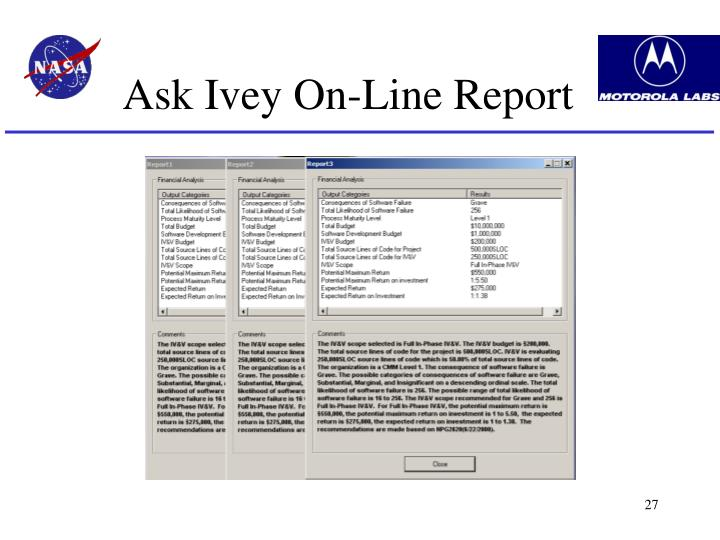 Ask Ivey On-Line Report