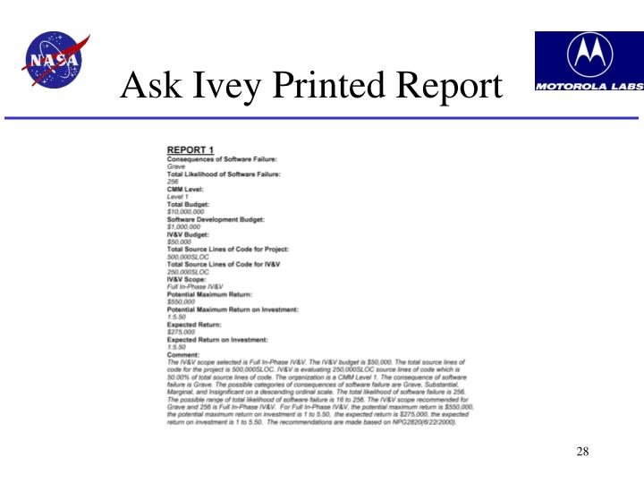 Ask Ivey Printed Report