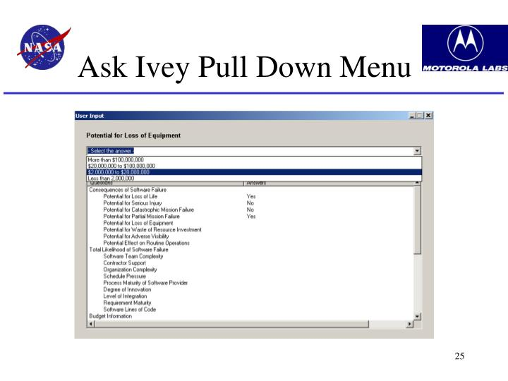 Ask Ivey Pull Down Menu