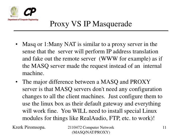 Proxy VS IP Masquerade