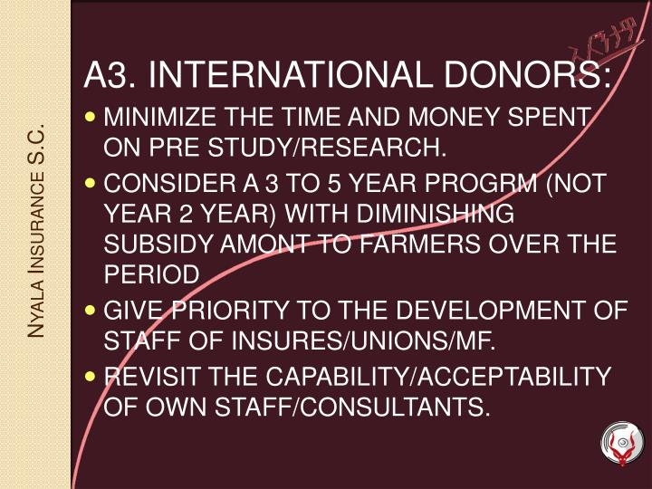 A3. INTERNATIONAL DONORS: