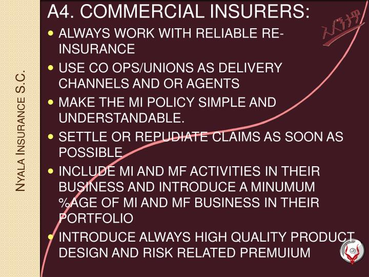 A4. COMMERCIAL INSURERS: