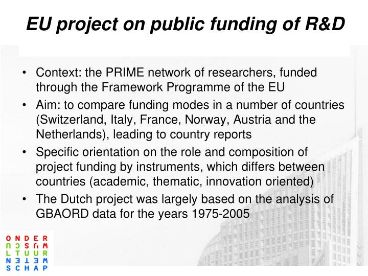 EU project on public funding of R&D