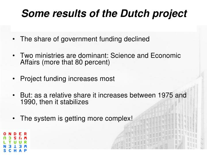 Some results of the Dutch project