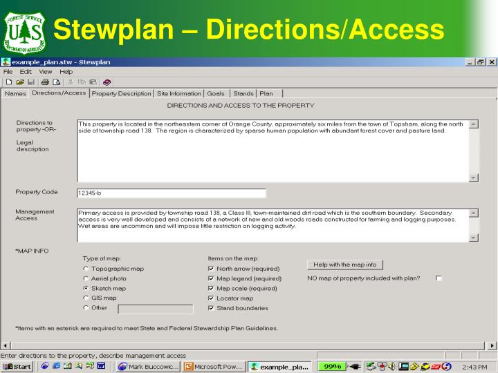 Stewplan – Directions/Access