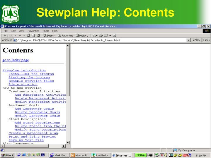 Stewplan Help: Contents
