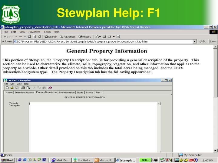 Stewplan Help: F1