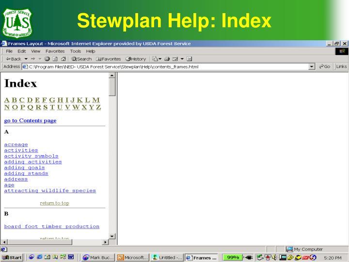 Stewplan Help: Index