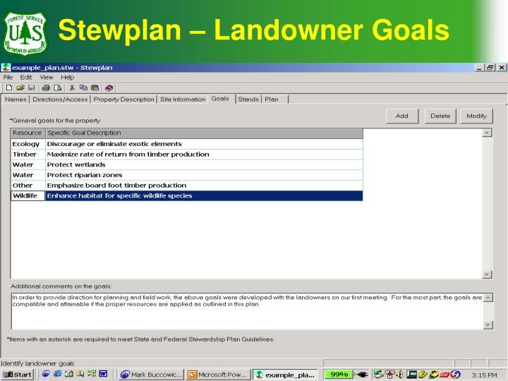 Stewplan – Landowner Goals
