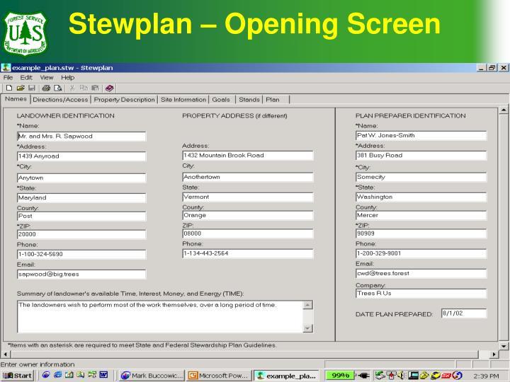 Stewplan – Opening Screen