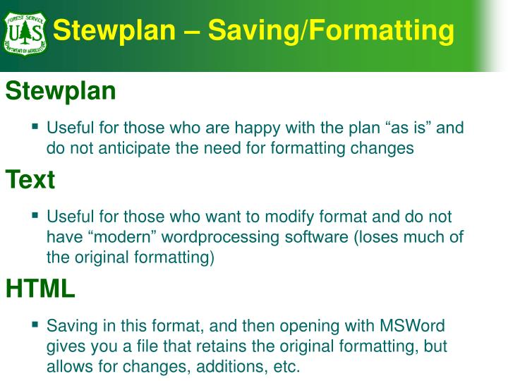 Stewplan – Saving/Formatting
