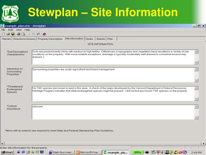Stewplan – Site Information