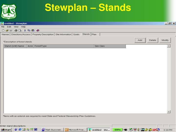 Stewplan – Stands