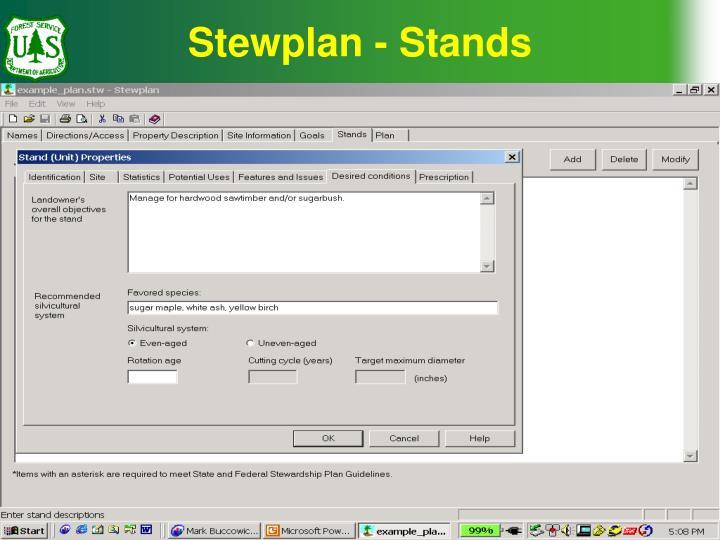 Stewplan - Stands