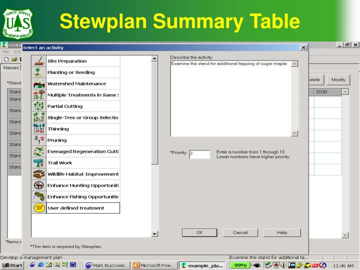 Stewplan Summary Table