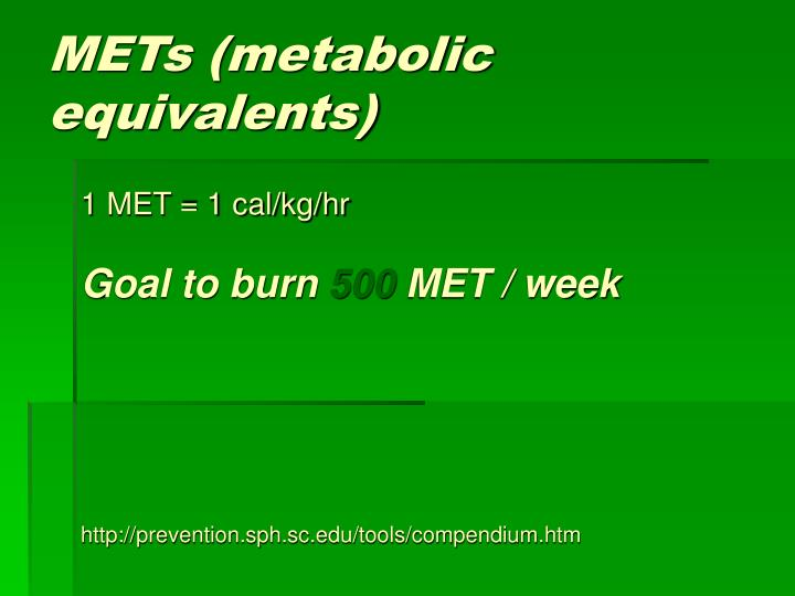 METs (metabolic equivalents)
