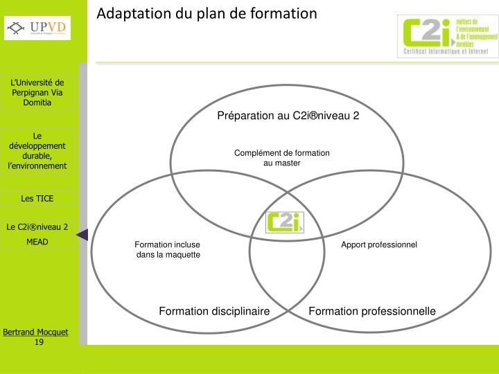 Adaptation du plan de formation