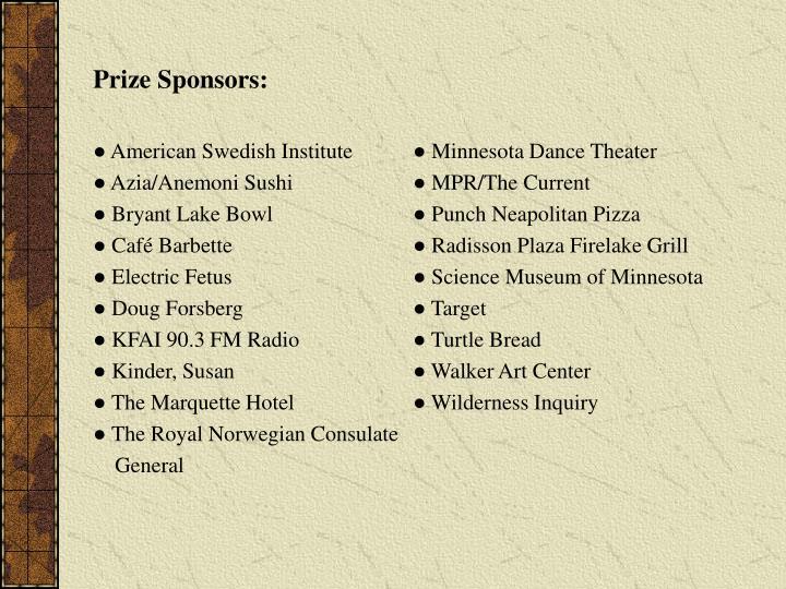 Prize Sponsors: