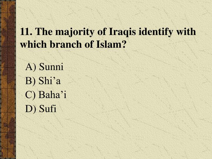 11. The majority of Iraqis identify with which branch of Islam?