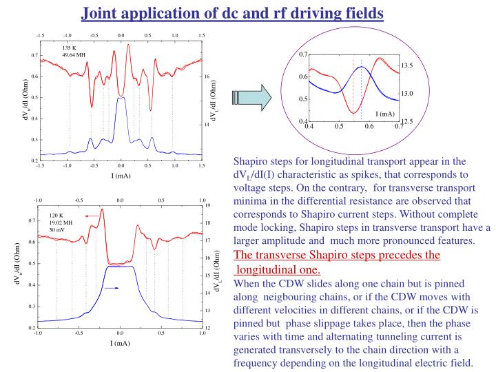 Joint application of dc and rf driving fields