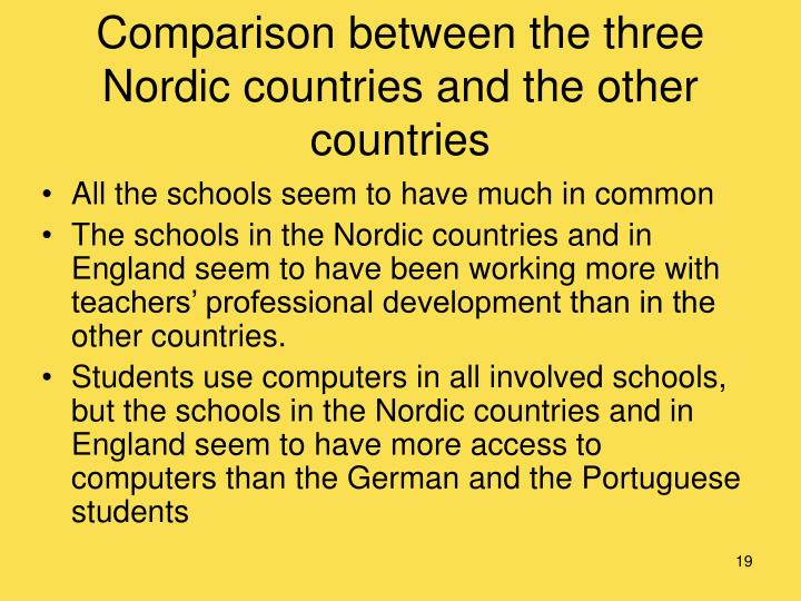 Comparison between the three Nordic countries and the other countries
