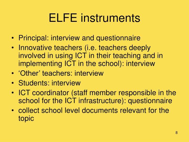 ELFE instruments