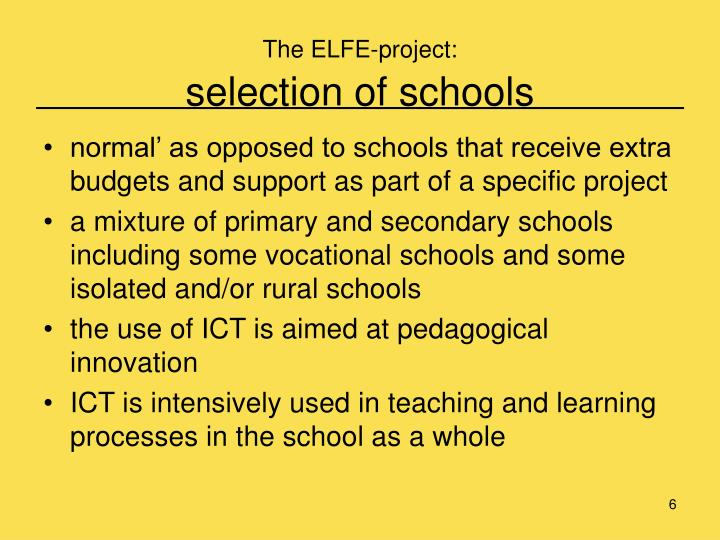 The ELFE-project: