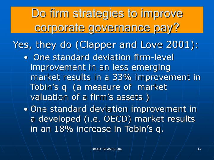 Do firm strategies to improve corporate governance pay?