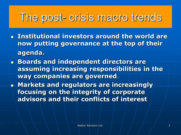 The post crisis macro trends