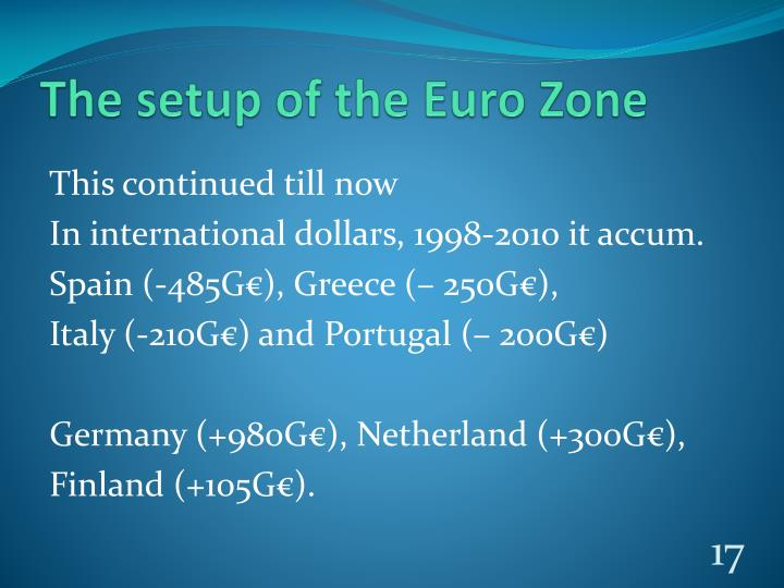 The setup of the Euro Zone