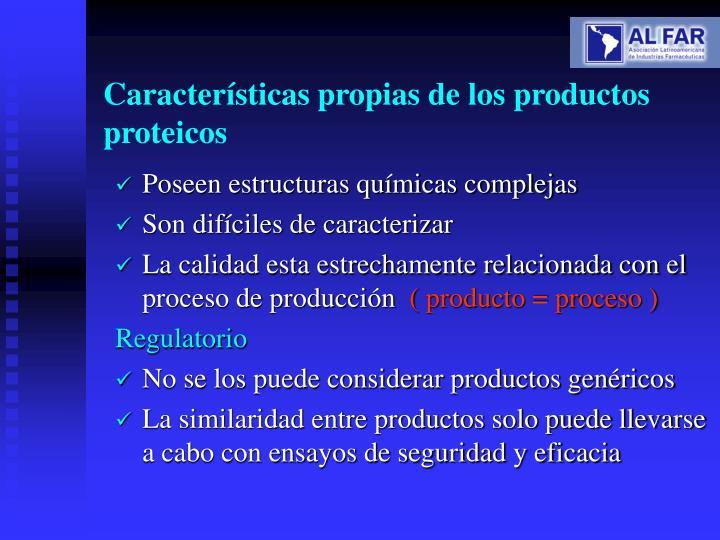 Características propias de los productos proteicos
