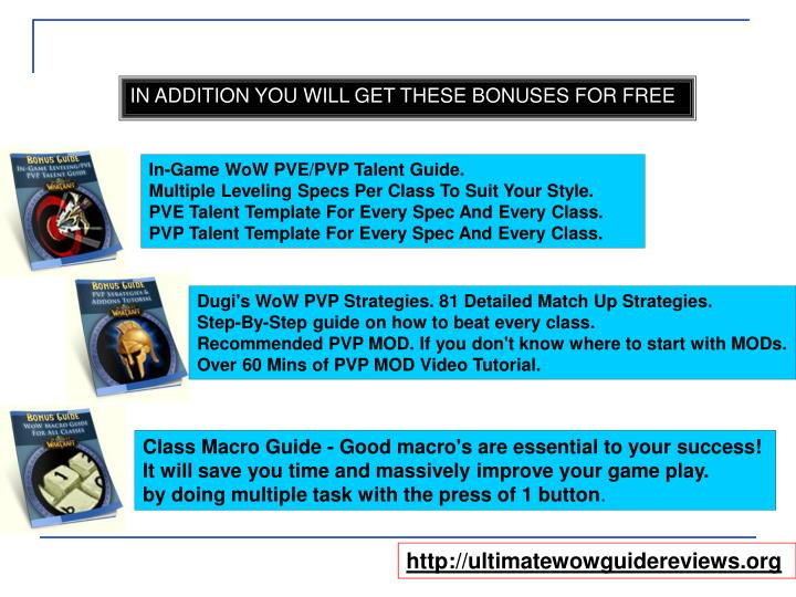 IN ADDITION YOU WILL GET THESE BONUSES FOR FREE