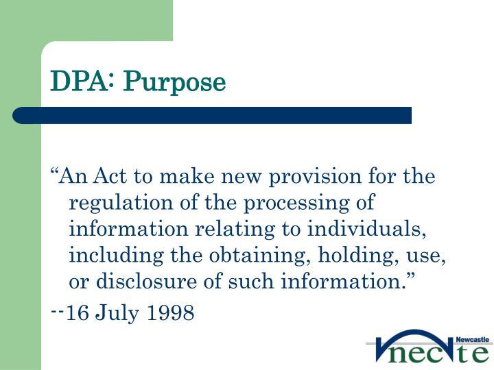 DPA: Purpose