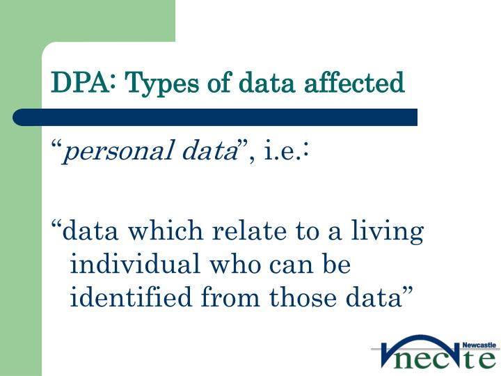 DPA: Types of data affected