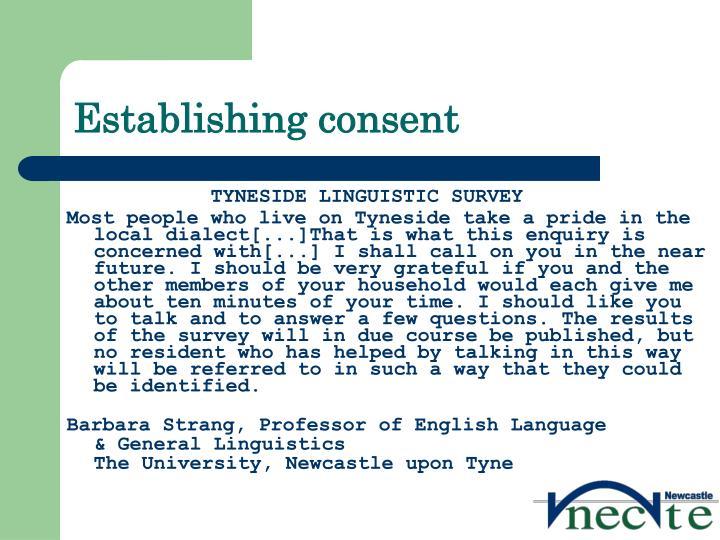 Establishing consent