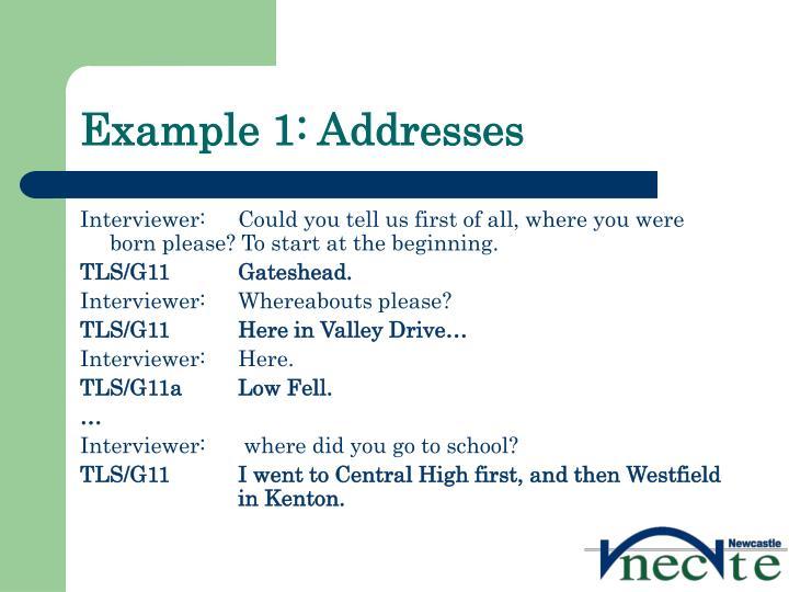 Example 1: Addresses