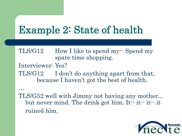 Example 2: State of health