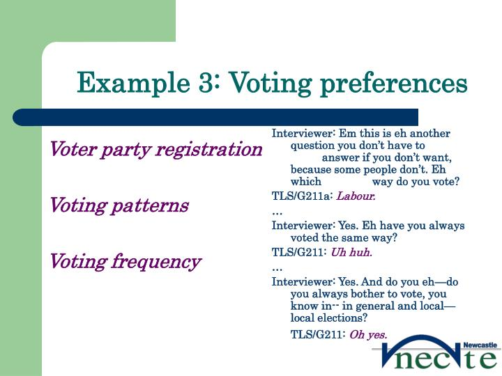 Example 3: Voting preferences