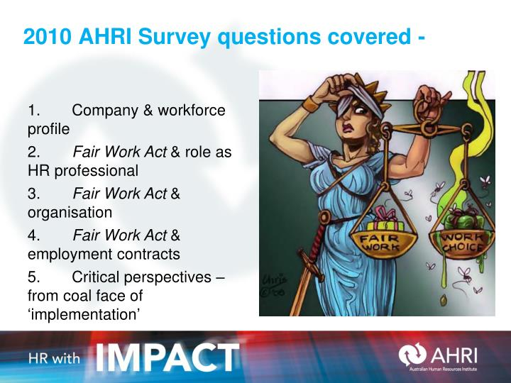 2010 AHRI Survey questions covered -