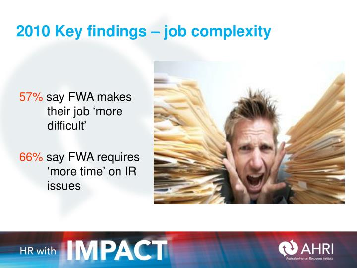 2010 Key findings – job complexity
