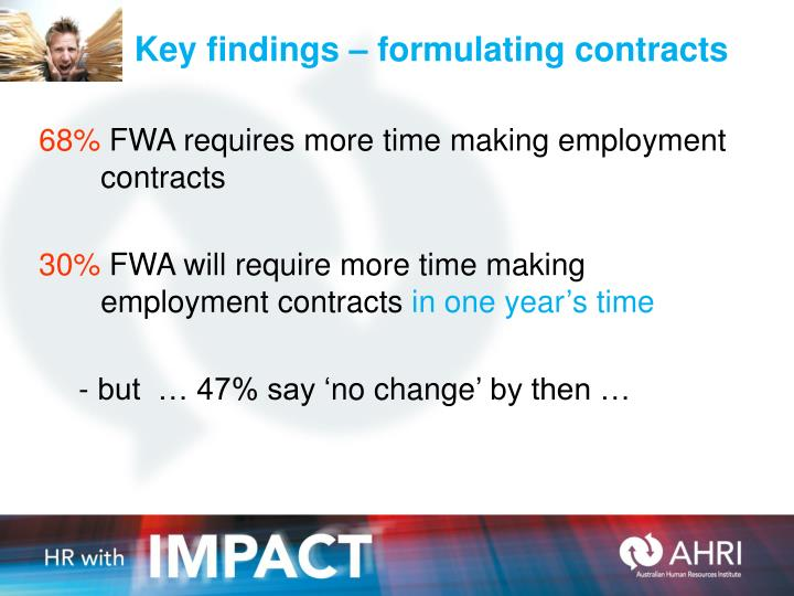 Key findings – formulating contracts