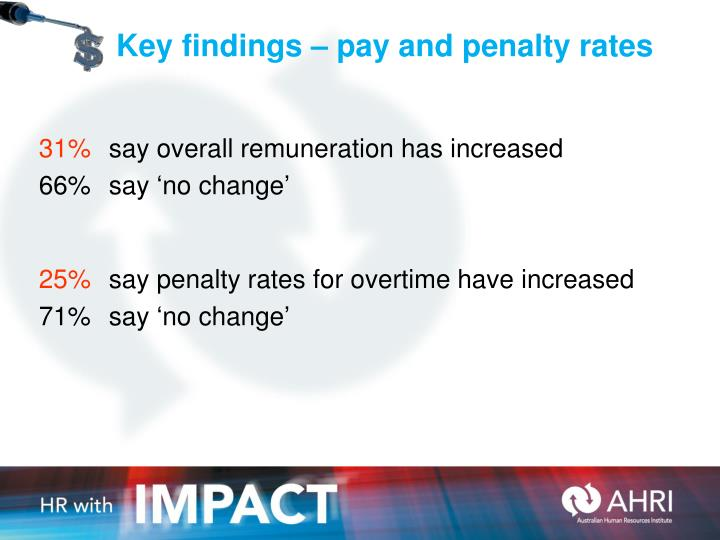 Key findings – pay and penalty rates