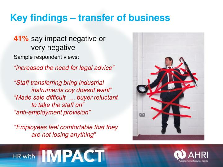 Key findings – transfer of business